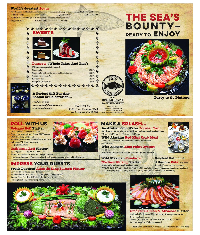 Original Fish Company catering brochure