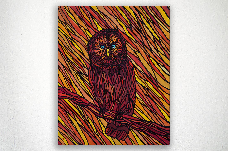 "ORANGE OWL - 16"" X 20"" - Acrylic on Canvas"
