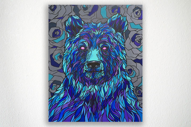 """Blue Bear - 16"""" X 20"""" - Acrylic on Canvas"""