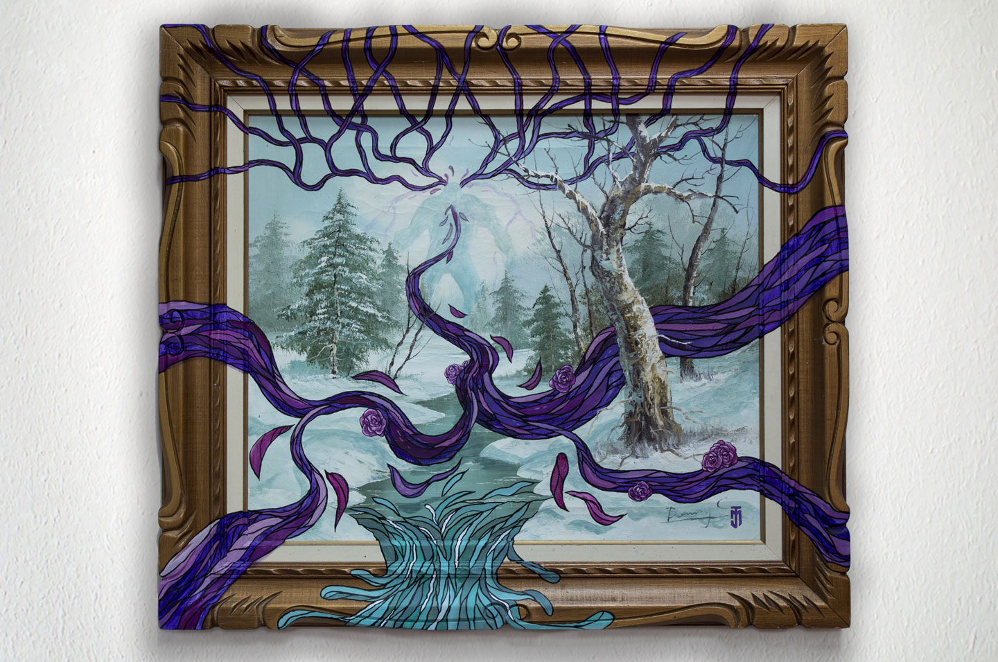 """You Monster You Aded Colour - 31"""" X 27"""" - Acrylic on Thrift Store Painting"""
