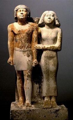 Ipep and her husband Kaipuptah (2400 A.D., Kemet-Old Kingdom, 5th Dynasty)  Image source: Global Egyptian Museum