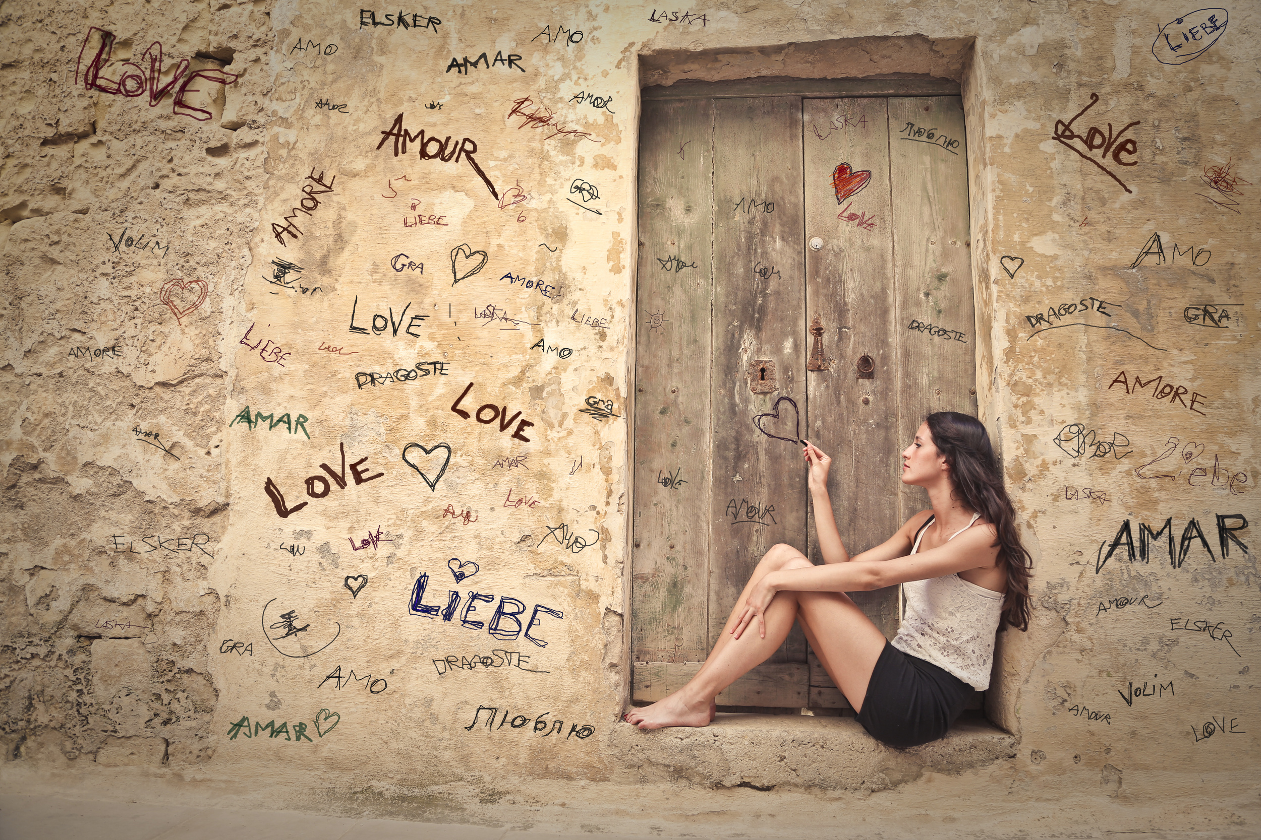 beautiful woman who is thinking about love