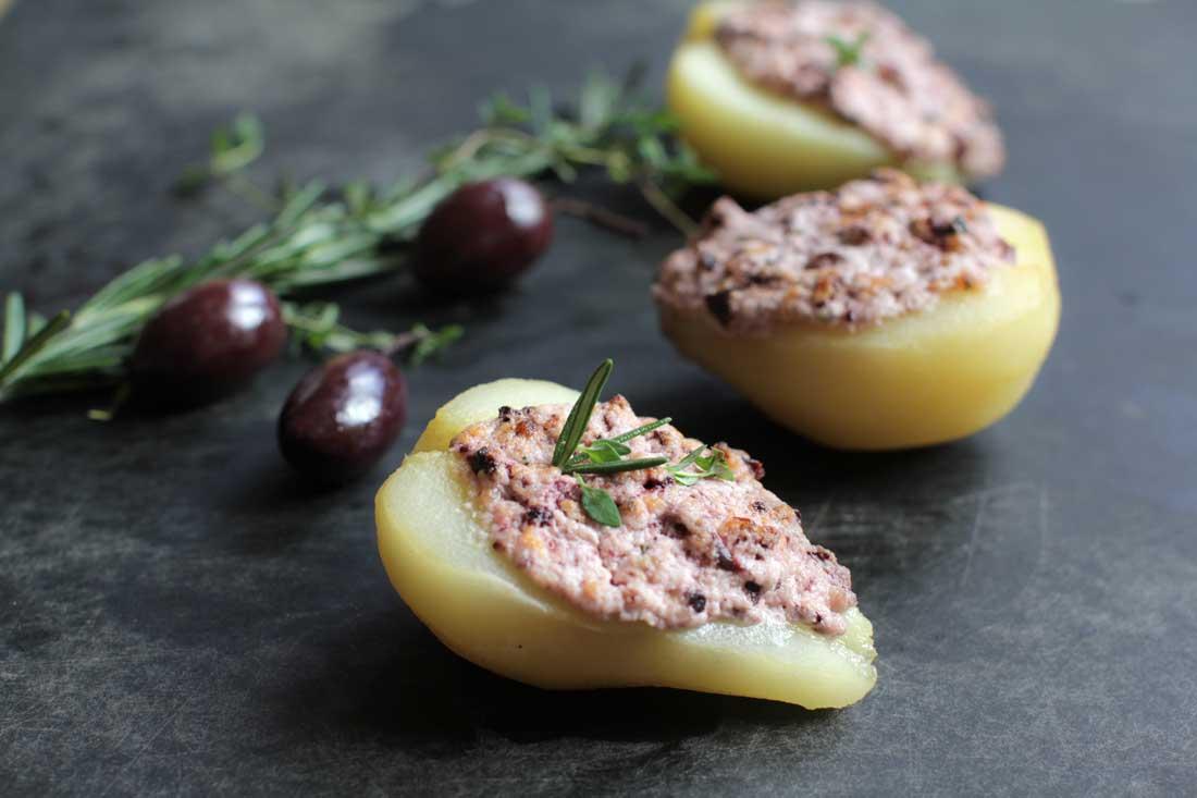 poires au chèvre et olives noires