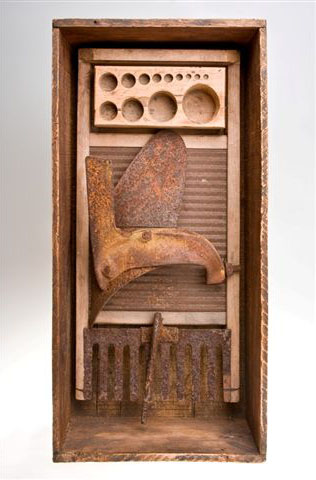 "Mildred Johnson,  Triptolemous , found object assemblage, 21""x11""x6"""