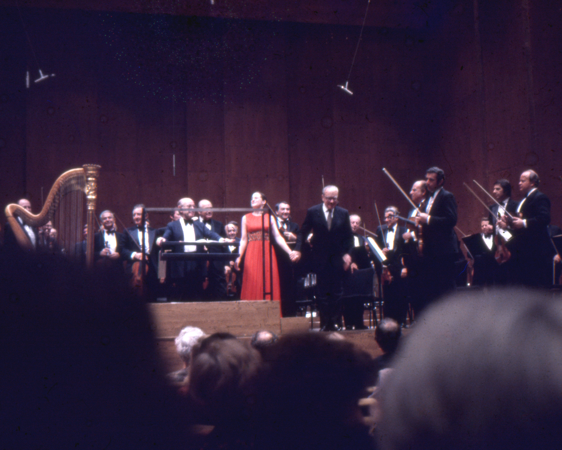 With the New York Philharmonic, 1977. Bowing with Alberto Ginastera.