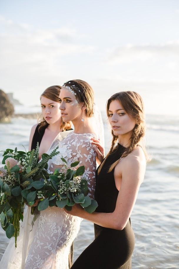 Photographer:  Katie Dessin Photography    Oregon coast dreamy mermaid bridal shoot