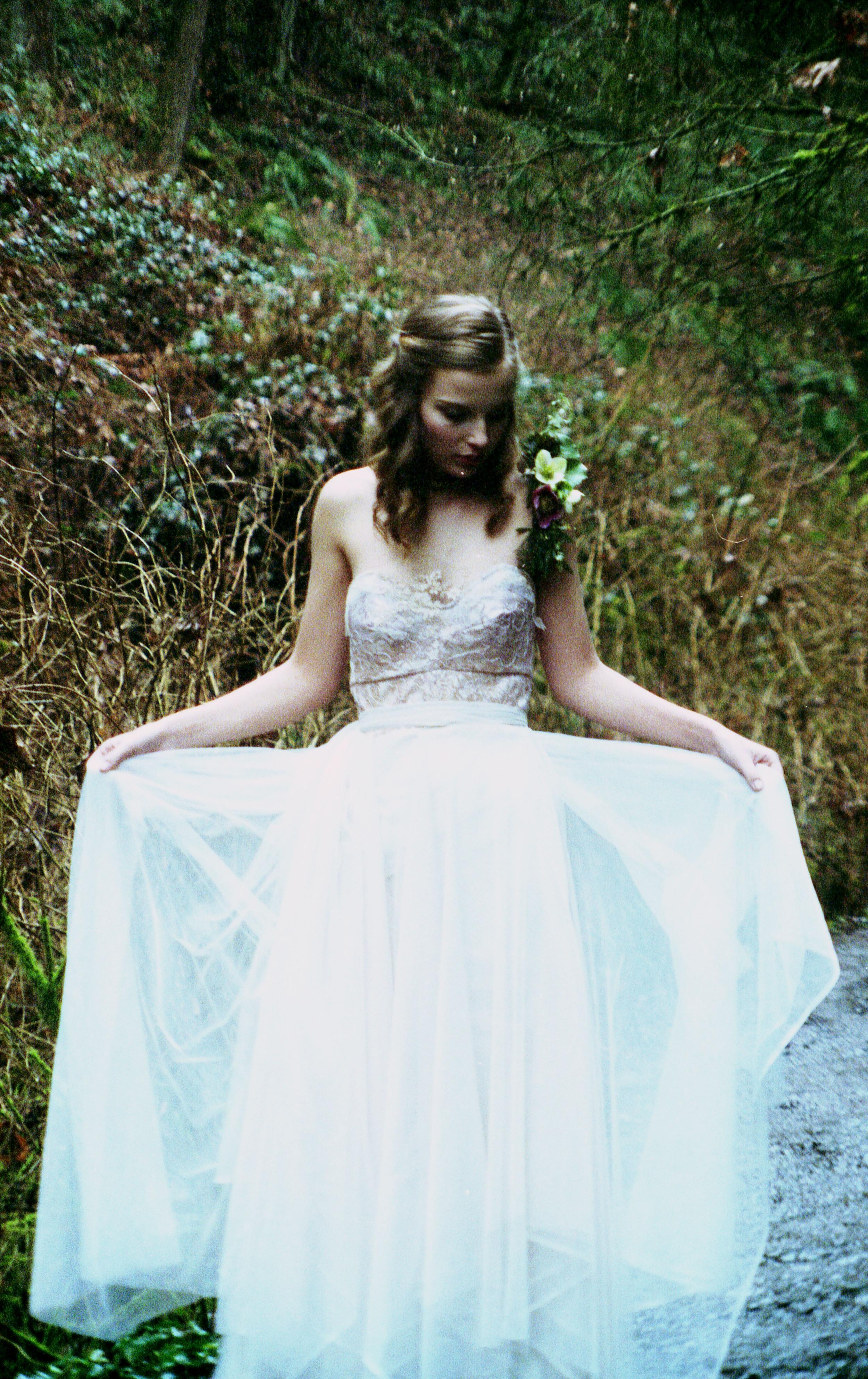 Model:  Eliana    Flowers:  Starflower PDX    Jewelry:  Beach Bones Jewelry    Dresses:  The Diamond Sea Bridal    Photography:  Ashley Marie Photography