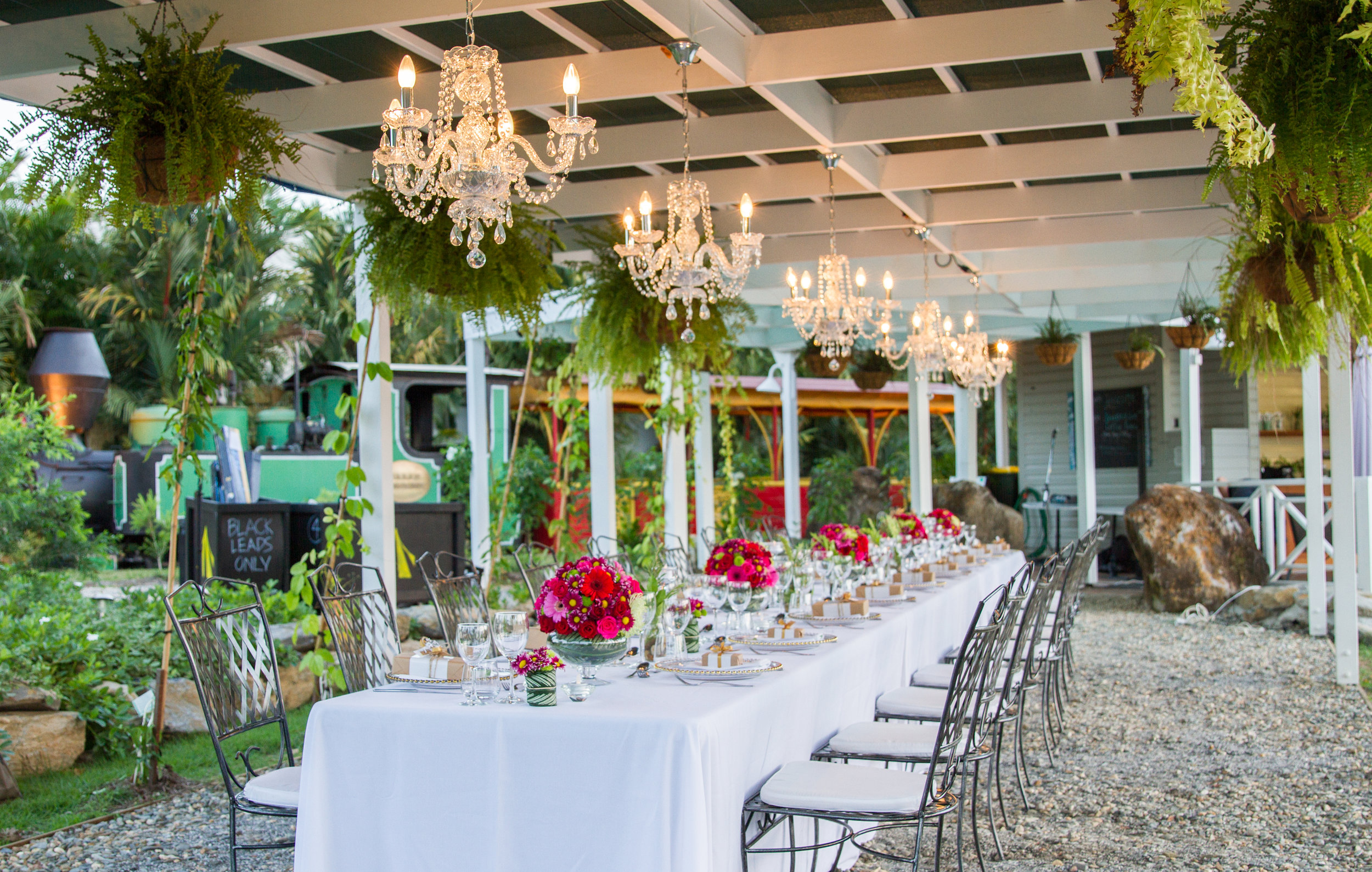 St Crispin's - This charming little train station turn cafe is home to the famous 'Balley Hooly' - Port Douglas' historic steam train. Located on a beautiful lake overlooking the Sheraton Country Club, this location is the perfect intimate setting for your next event.