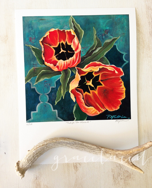 """Tulips For Morocco"": 7.5""x 7.5"", signed and numbered by Ruth Chou Simons"