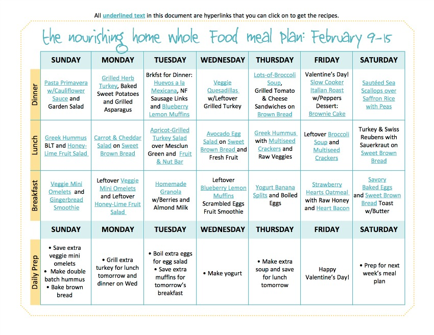 Bi-Weekly Whole Food Meal Plan for February 9-15