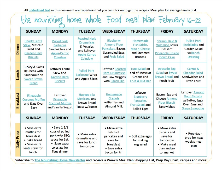 Bi-Weekly Whole Food Meal Plan for February 16–22