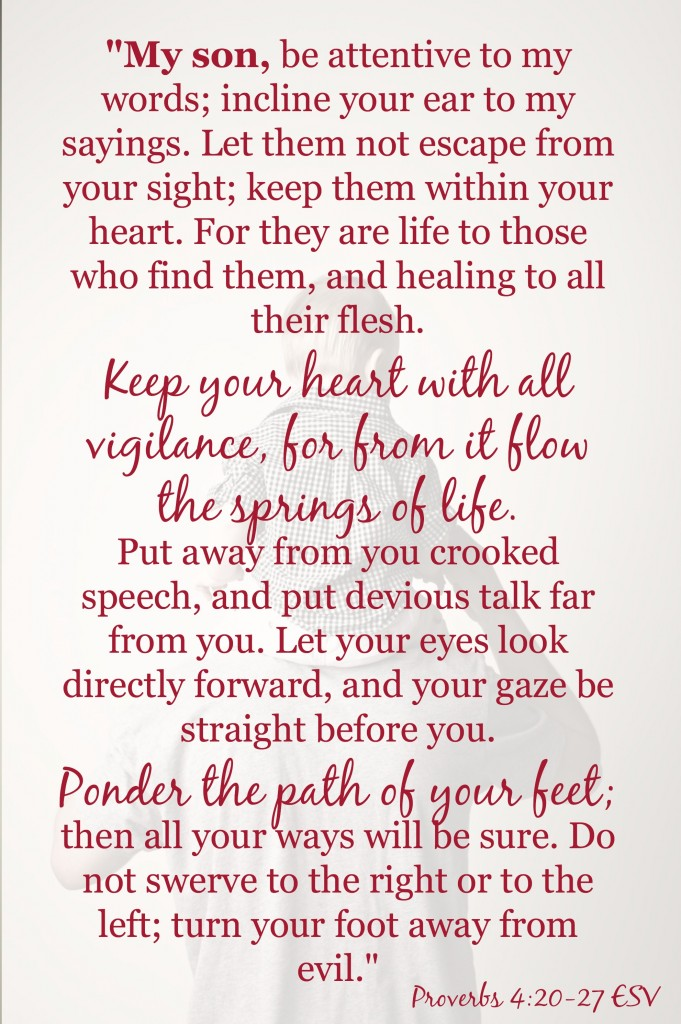 A free download of Proverbs 4:20-27. Perfect for the mom of boys.