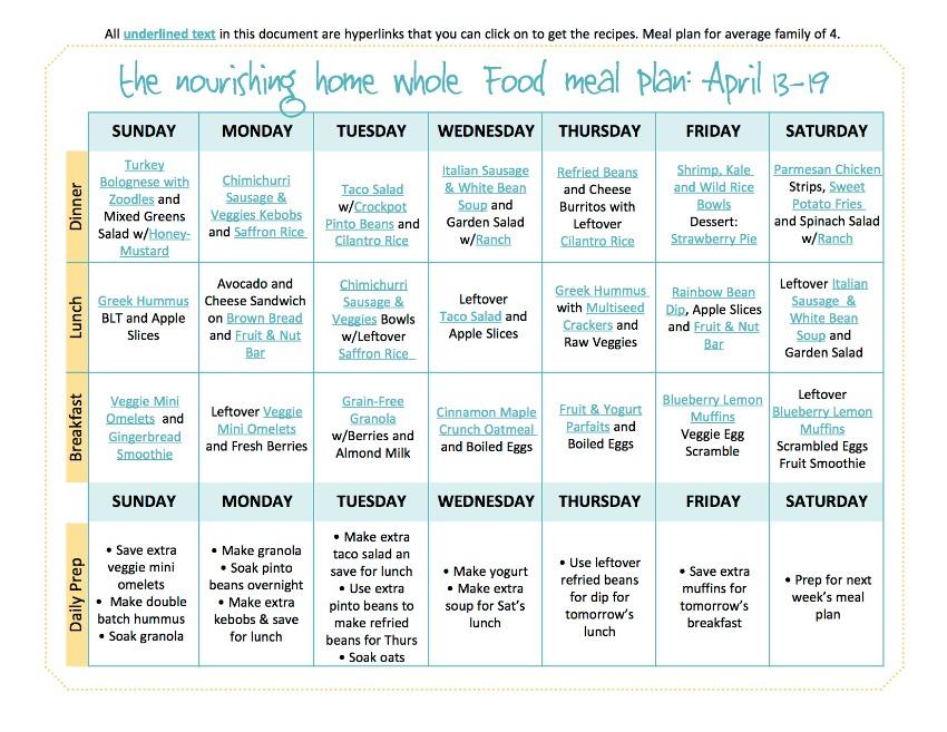 April 13-19 TNH Meal Plan