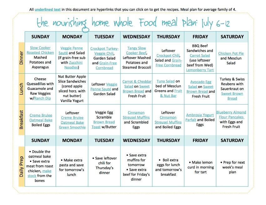July6-12 Meal PlanTNH