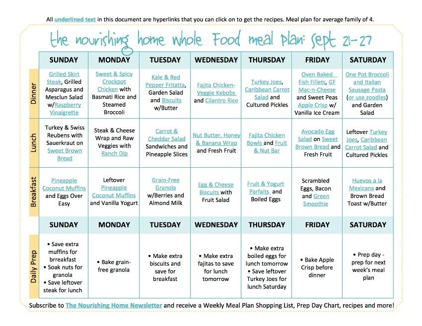 Sept 21-17 Meal Plan TNH