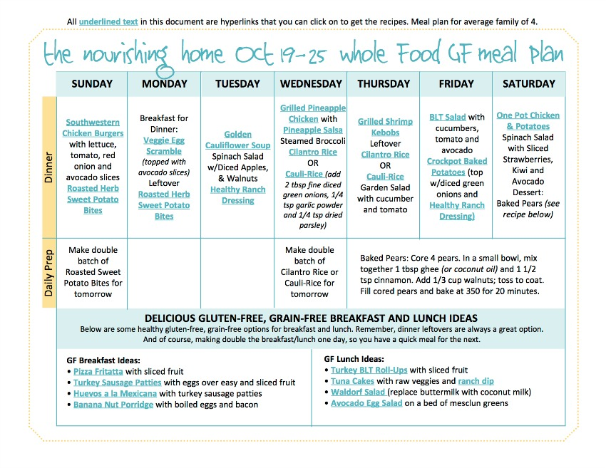 Oct 19-25 Meal Plan TNH