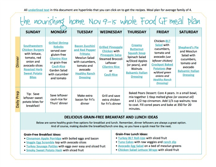 Nov 9-15 TNH Meal Plan