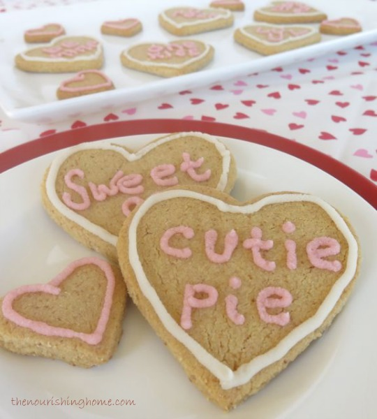 These gluten-free, grain-free and Dairy-Free  Conversation Heart Cookies  are a Tasty and healthyway to say Happy Valentine's Day!