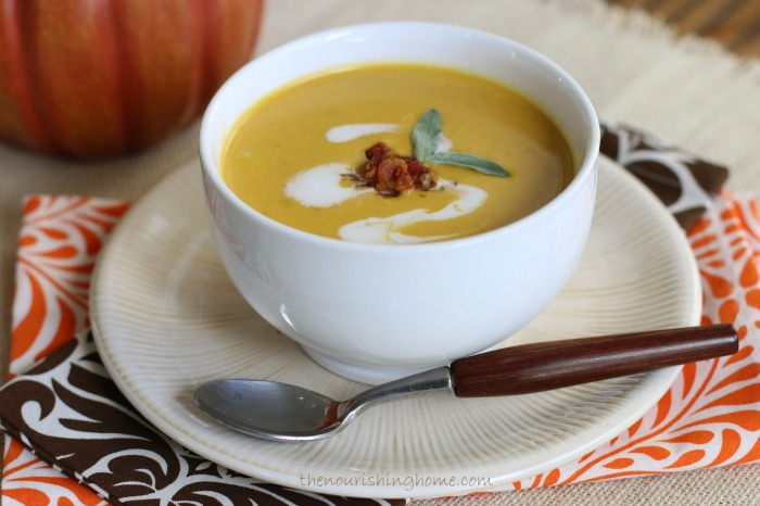 This  easy-to-make CReamy Soup  is Dairy-Free and can be made using pumpkin puree or butternut squash puree.. Top itwith some crunchy bacon bits to make it even more flavorful and satisfying!