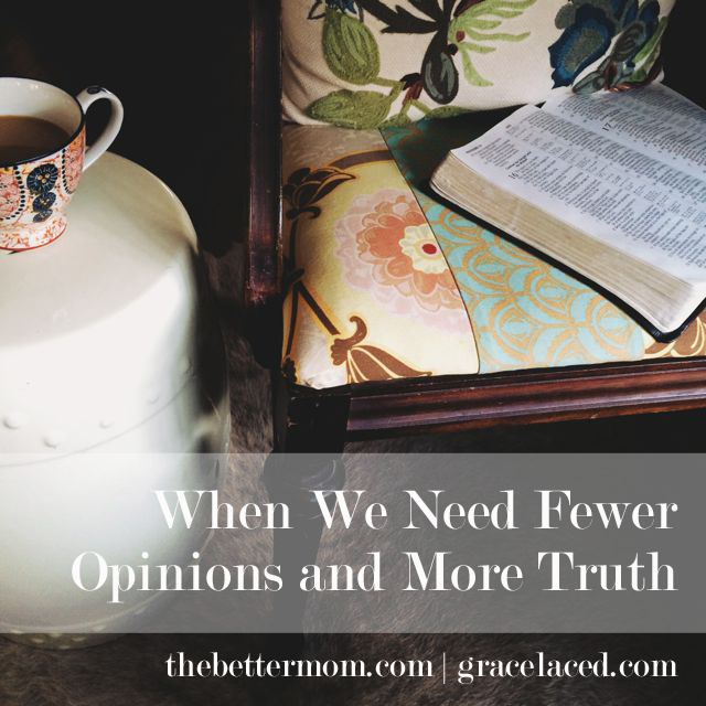 We have more access to information that ever before, but does it make us better thinkers? Perhaps as we toggle back and forth between more voices, it makes it harder to hear the voice of the One. As moms, how can we find stillness in all the noise? We must intentionally take time in the midst of everyday. Start here.