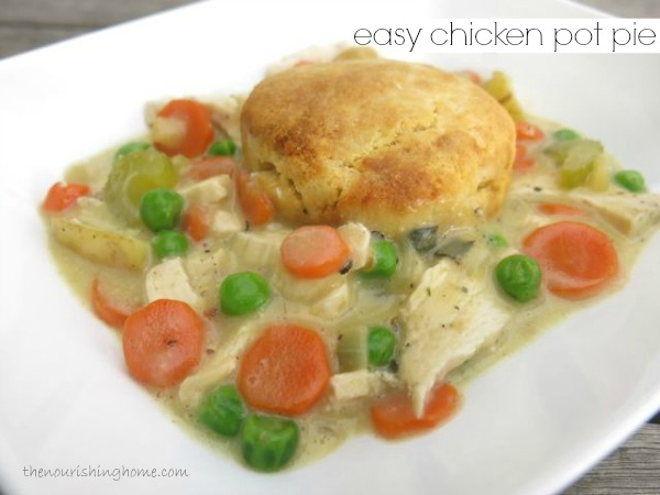 THIS FAMILY-FRIENDLY   Easy Chicken Pot Pie  recipe is nutritious and delicious! Plus, It comes together in a snap when you use leftover roasted chicken from this week's meal plan.