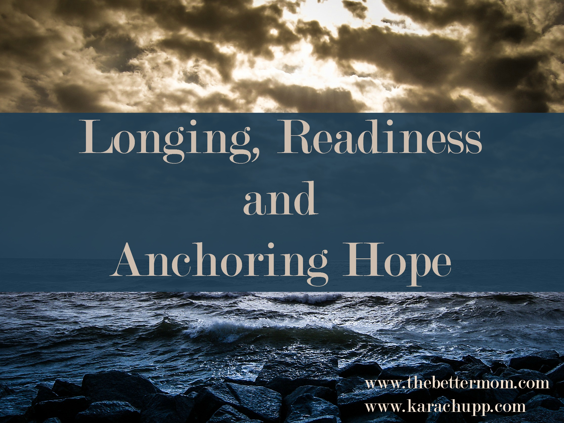 When we are worn thin and weary, where is our hope? Our day to day circumstances may change by the application of good advice, but our anchor as moms, in all things, is not on this earth at all. Do you know where your hope comes from?