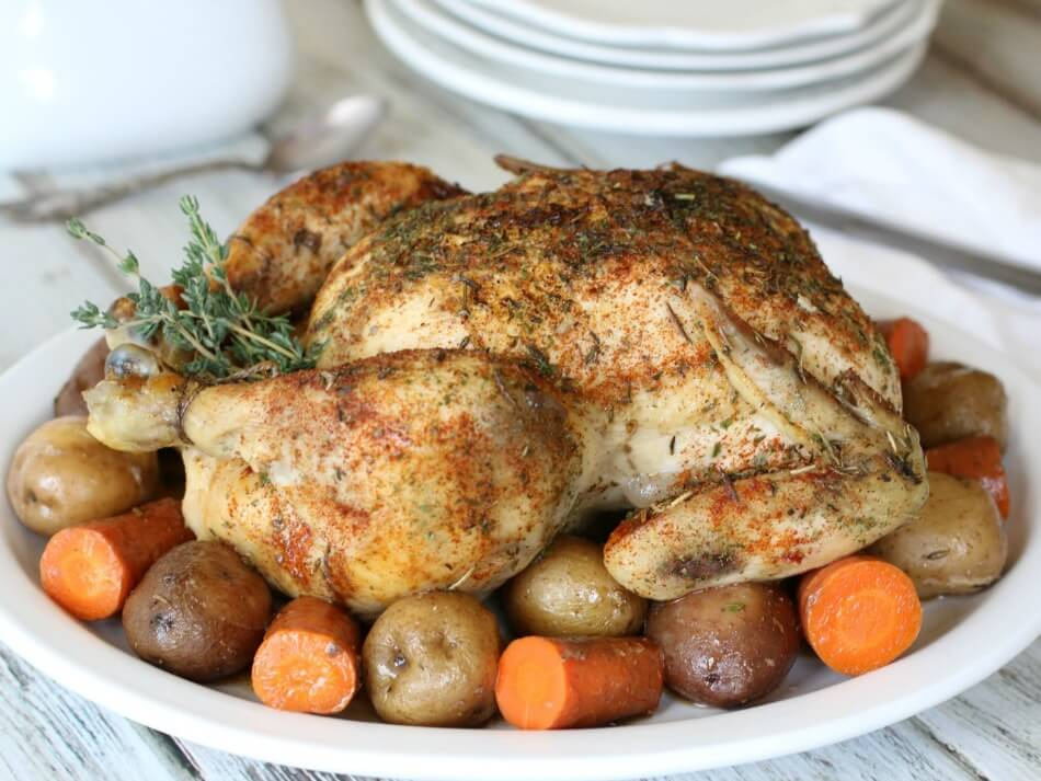 This simple  slow cooker rotisserie style chicken  is one of my favorite quick weeknight dinners!And the best part is the leftovers can be used to make a whole host of quick-n-easy, family-friendly dinners!
