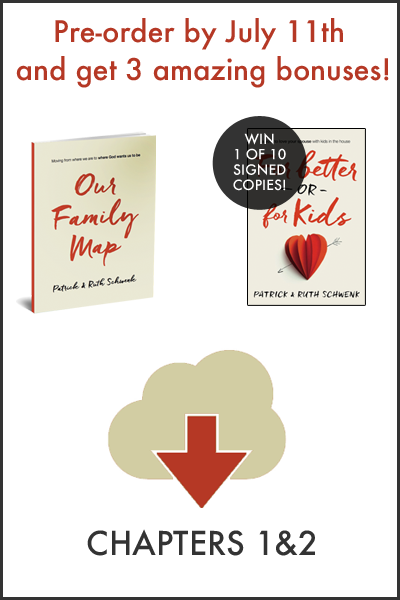 """Marriage never turns out quite like we imagined and sometimes it can be messy, but it is good. We know, that like us, you want to keep your vow to love your spouse with kids in the house! For Better or For Kids officially releases in just four weeks but today, we are excited to announce that you can now pre-order FBOFK and claim your FREE pre-order bonuses (including an exclusive """"Family Map""""!!)!"""