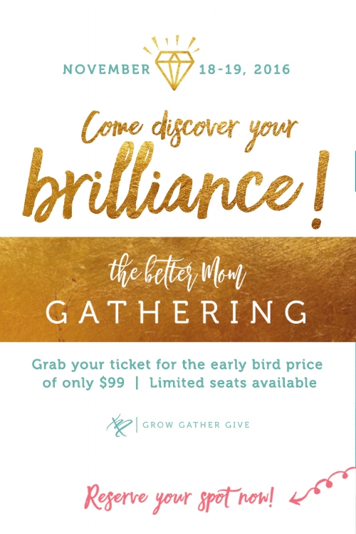 We have some VERY exciting news to share! We are gathering together this fall and we want you to join us for our first ever Better Mom Conference! Space is limited, so head to the blog for all the details and don't miss out!