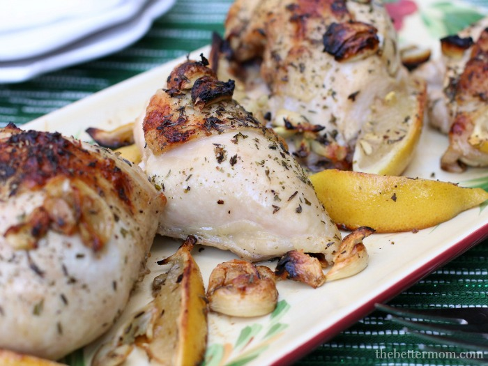 This simply delicious  Garlic Lemon Roast Chicken  is just one of the many healthy no-fuss meals in this week's meal plan. It takes just minutes to prep and is ready to serve in 30 minutes!