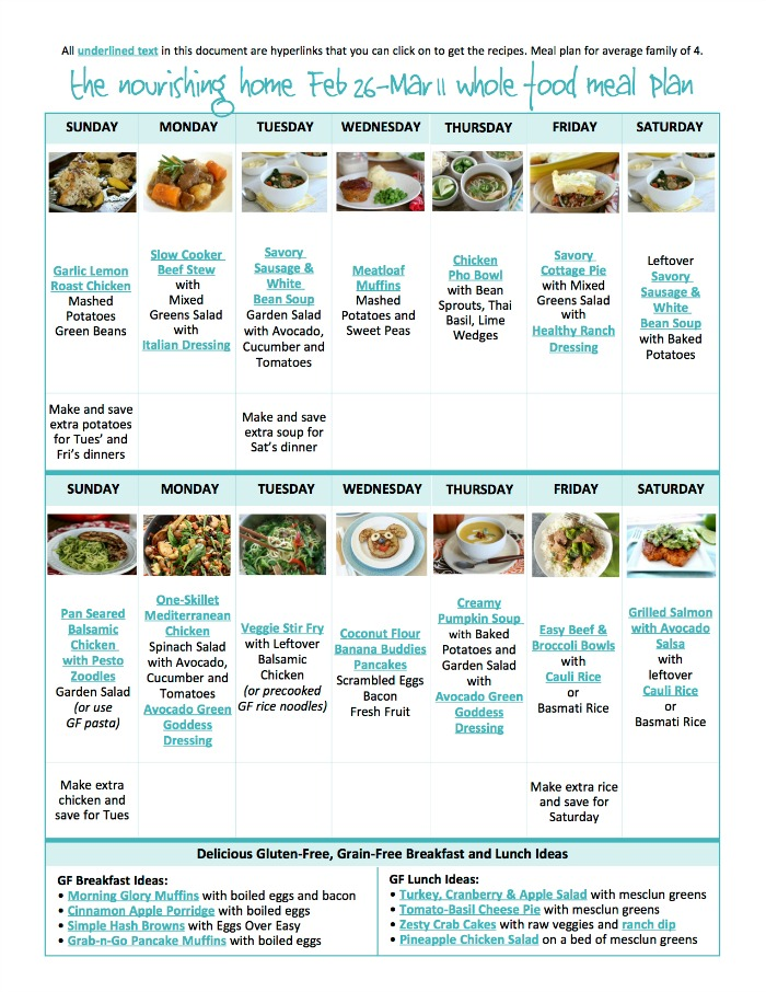 It's so much easier to eat healthier when you take a moment to meal plan. That's why we're here to help! As part of our ministry, we're happy to provide free whole food meal plans with links to each of the delicious recipes featured!