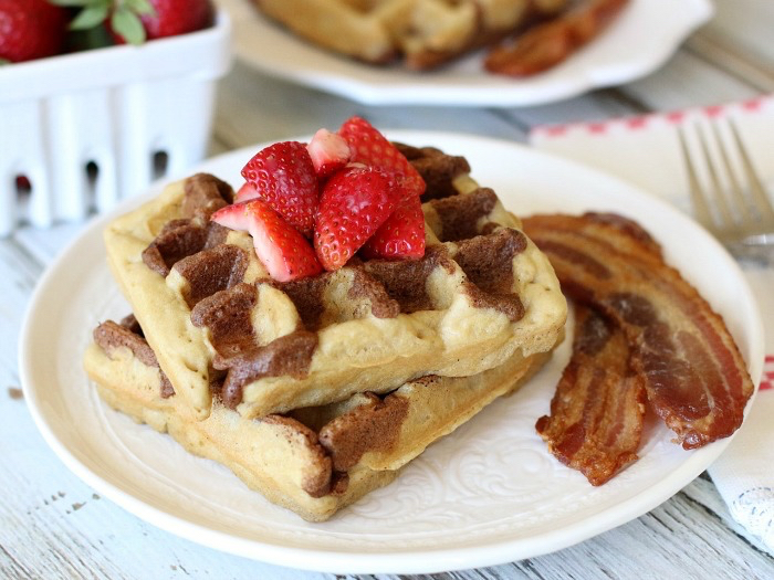 These healthy & delicious  Cinnamon Toast Waffles  may look fancy, but they're actually super easy to make since the batter comes together quickly in your blender. Just add some fresh berries and a drizzle of pure maple syrup for the ultimate weekend breakfast the whole family will love!