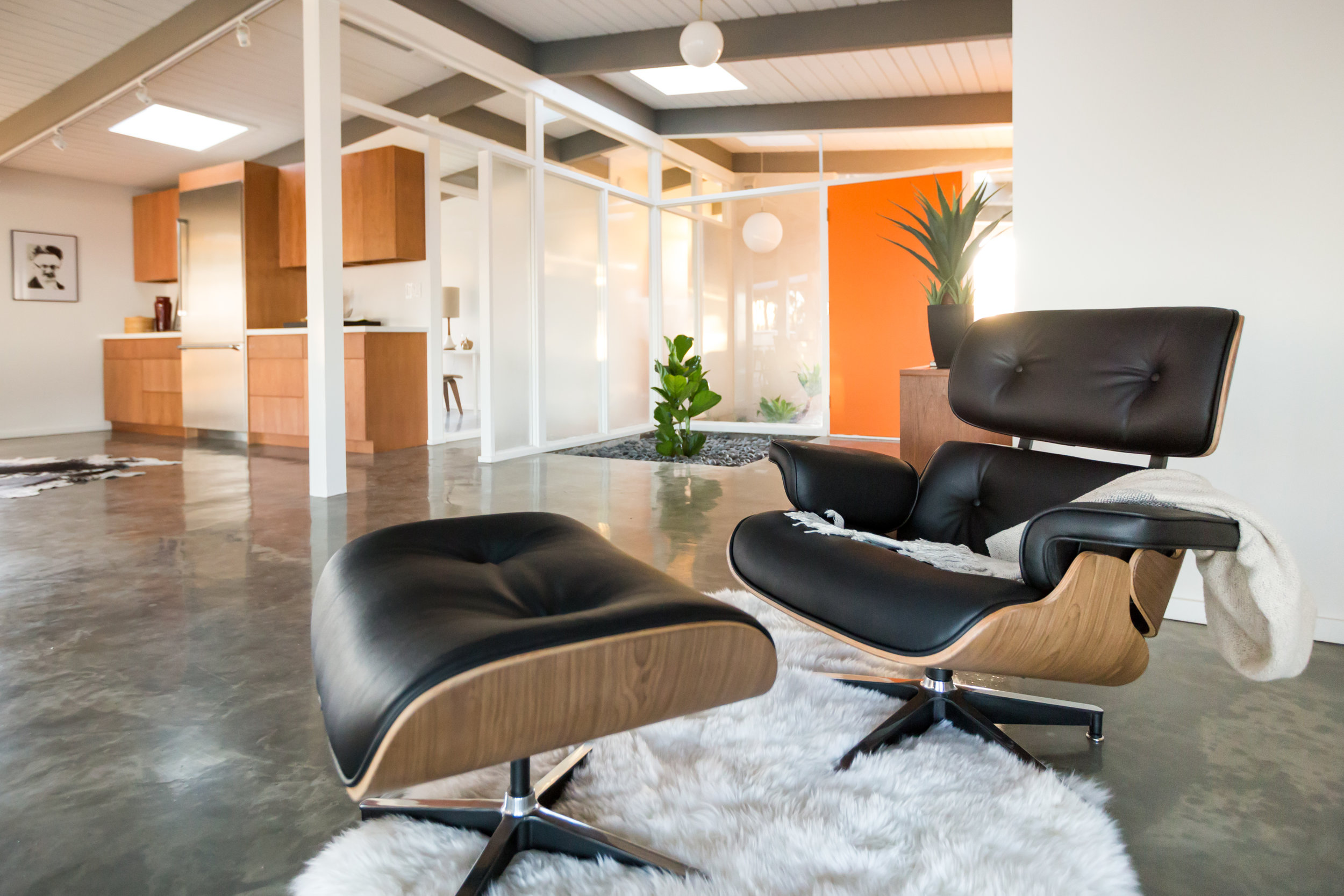 An Eames replica lounger and ottoman because... well, just because.
