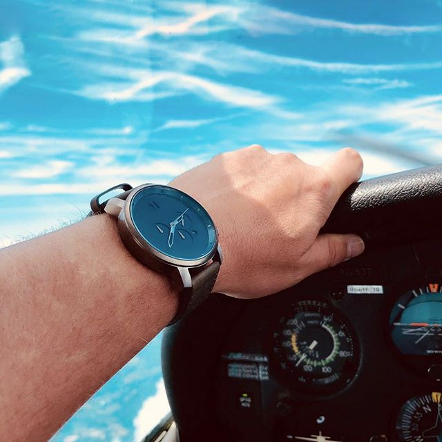 "Nick wore his new @mvmt watch for our flight ✈️ It's the chrono matte blue cedar! If you're looking for a gift for your guy, Nick loves this one 💙 Use ""littlegb15"" for $15 off your order 👌🏽 #jointhemvmt #inflight #pilotlife #privateflight #aviationdaily"