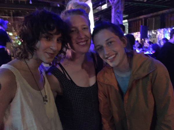 (from left) Ana, Gracie, & Megan:   The right outfit. Enough bodies. A giant group of people. 90's Hip hop. Music that you know interspersed with music you wished you knew better. The right density of bodies in ratio to space. Good transitions between songs. Songs that aren't too chopped up by a DJ trying to be fancy. People who dance without caring, like they're just in their kitchen.