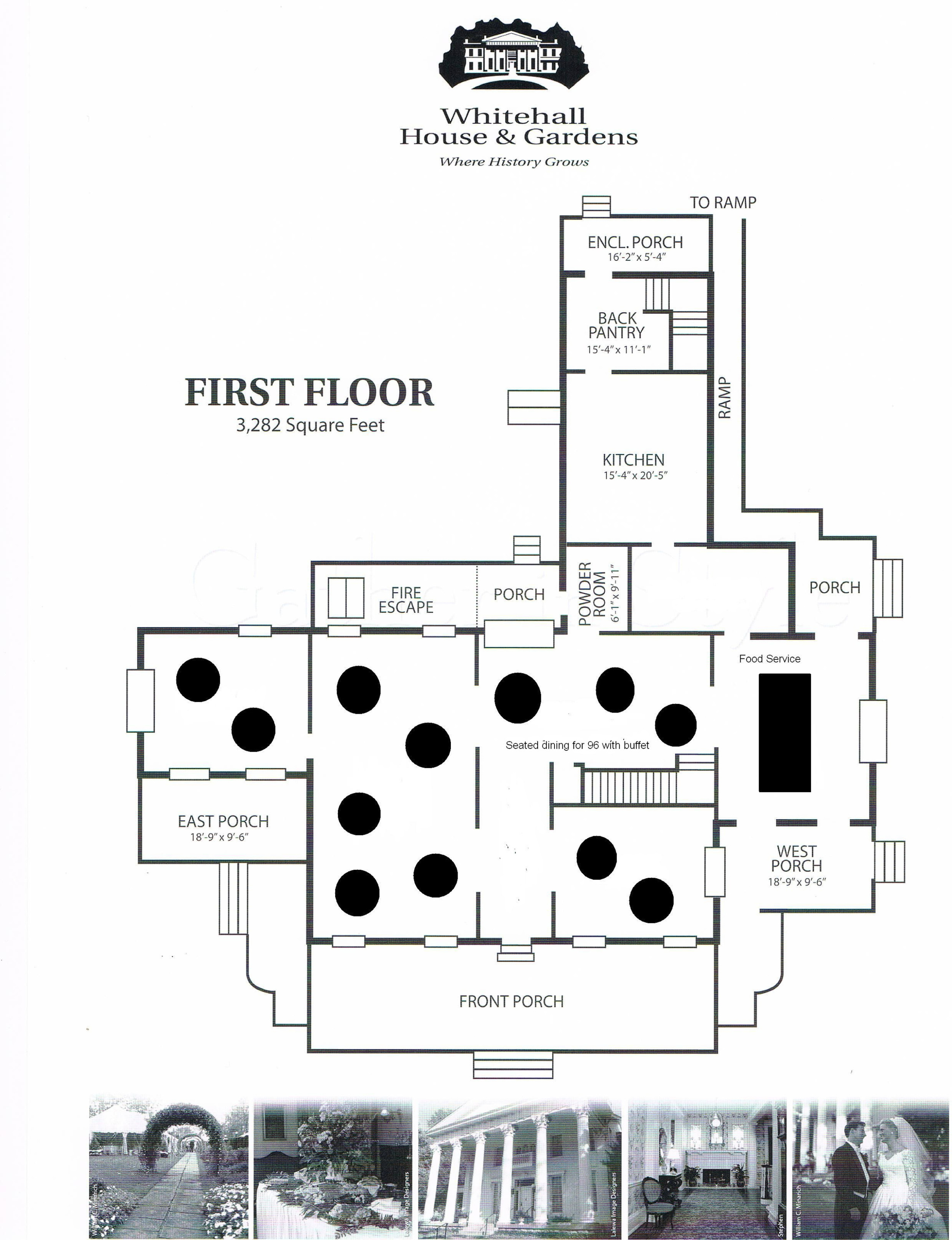 Floor Plan - Seated Dining for 96 with Buffet