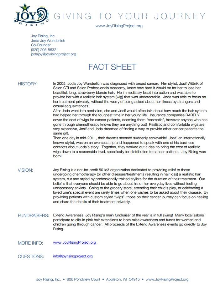 Joy Rising Fact Sheet
