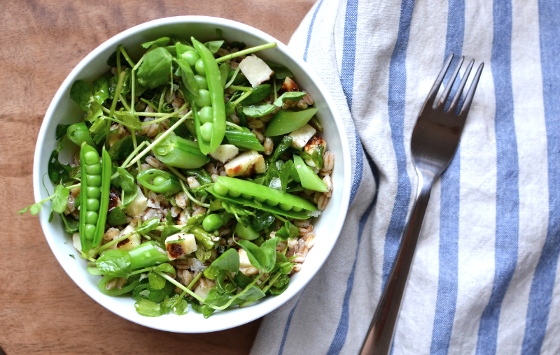 farro with snap peas, pea tendrils and grilled halloumi