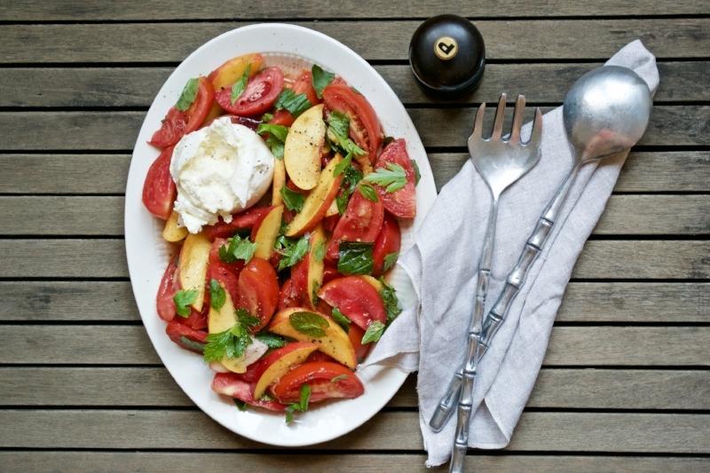 tomato & nectarine salad with herbs and burrata