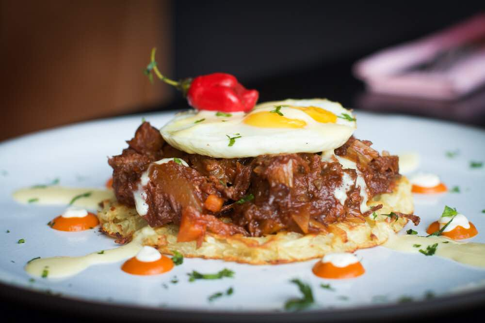 Yam and Oxtail Hash Brown with Fried Egg and Hollandaise Sauce