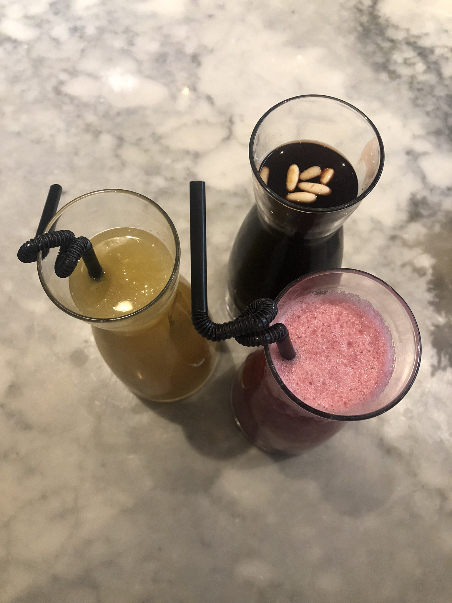 The Trio; Ginger Citrus Iced Tea, Jallab, Lush Zobo