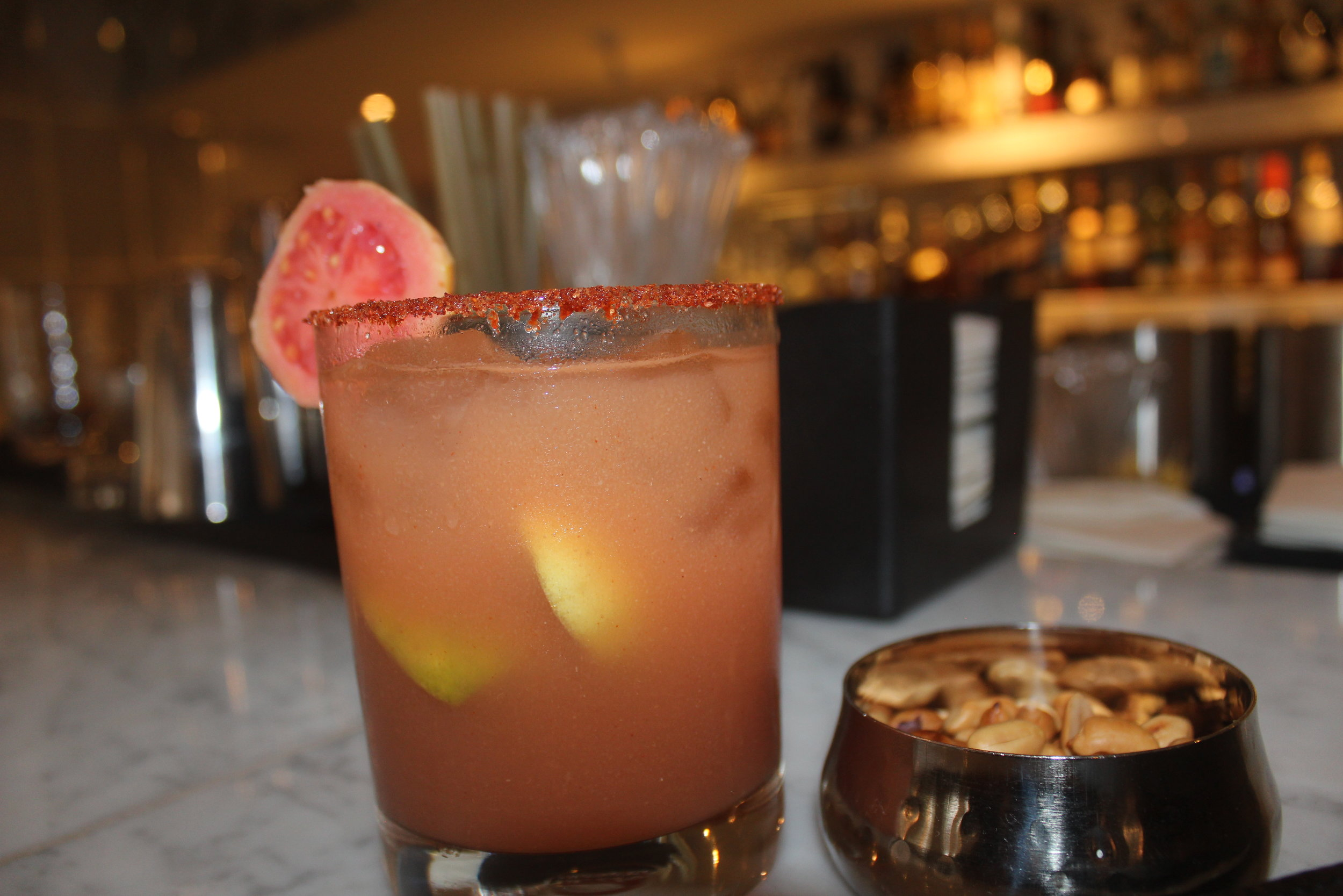 Guava Mary;  Vodka mixed with guava juice and spiced with Moroccan spices.
