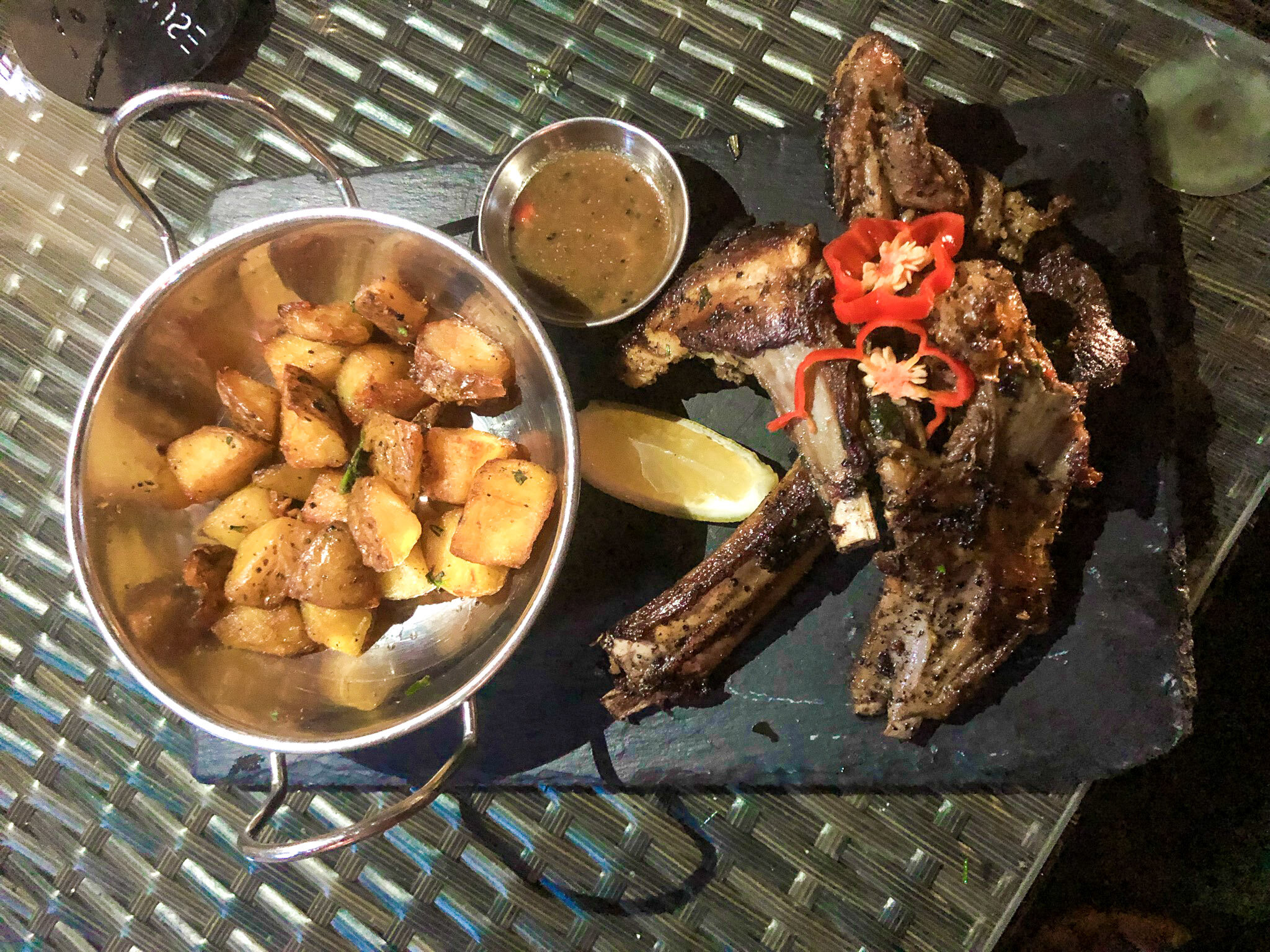 Grilled Lamb Chops, Rosemary Potatoes and a Side of Gravy