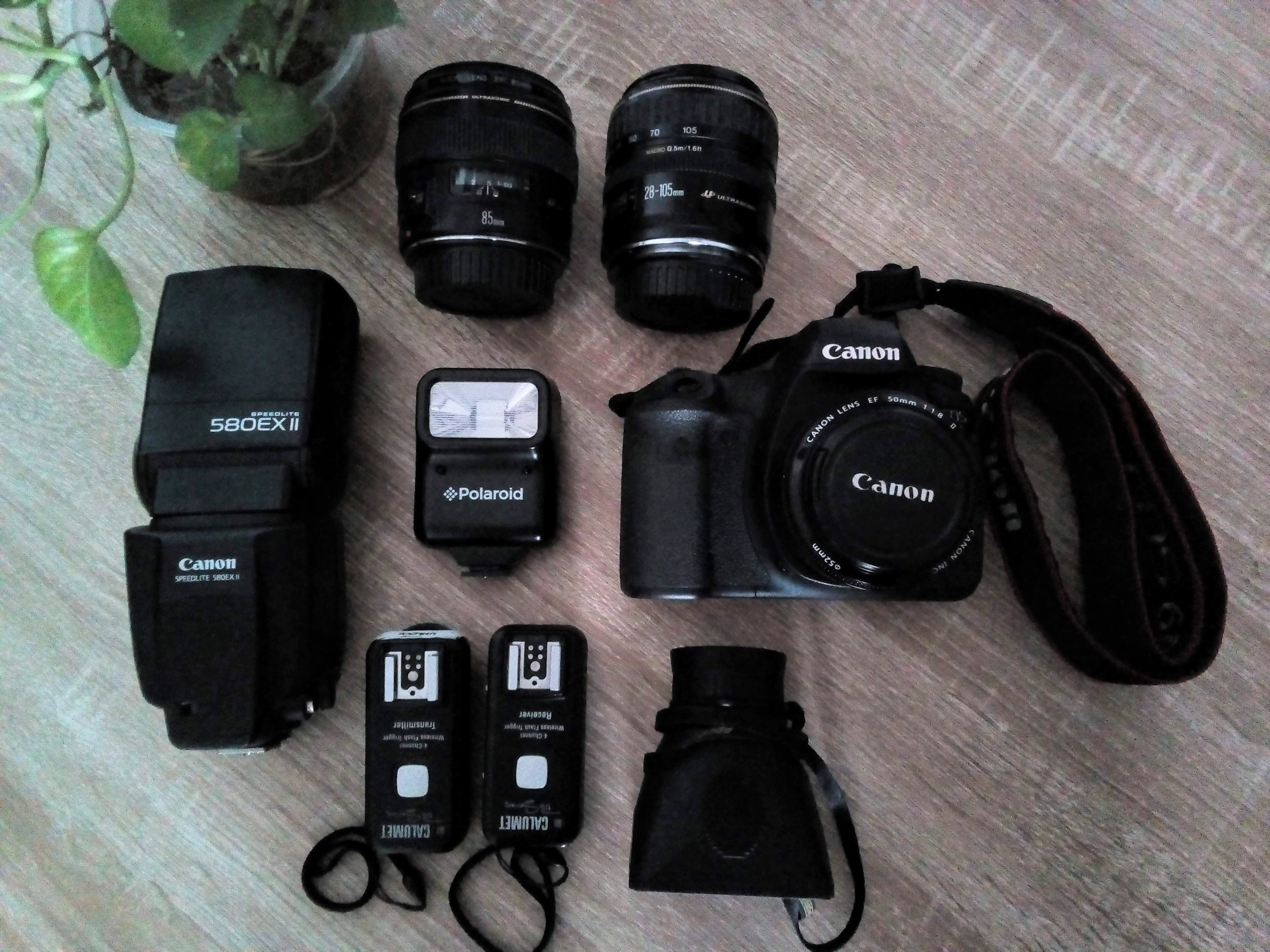 Taken with my cellphone but this is it, my gear. On camera is my 50mm.