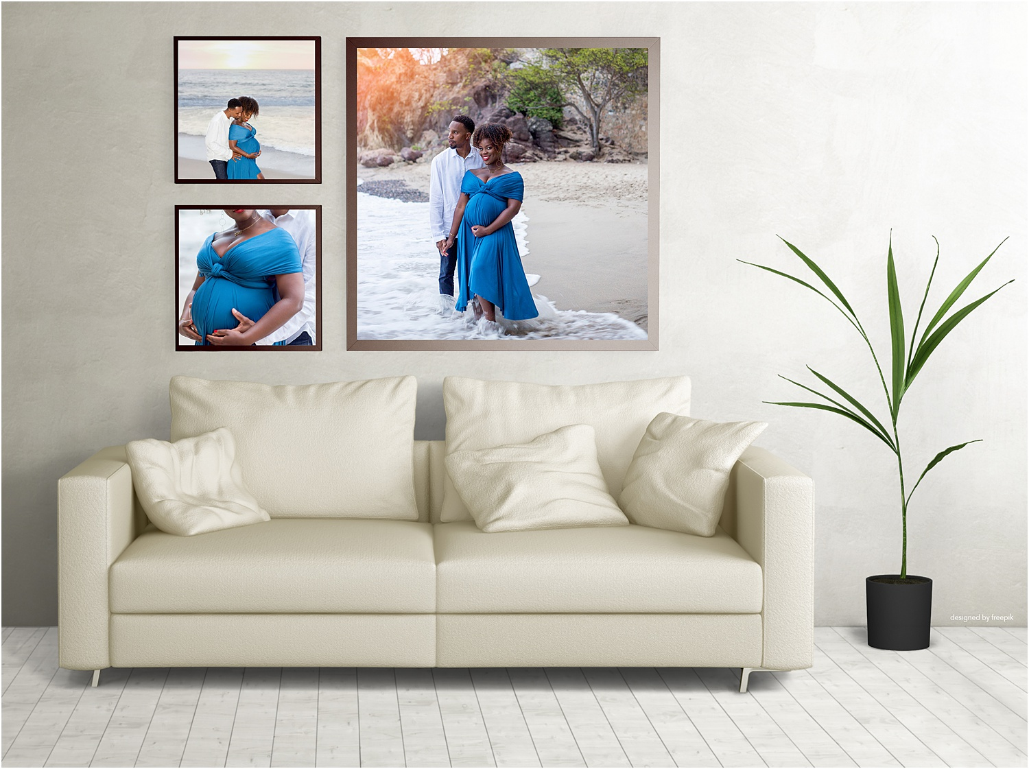 Three framed images to create a large gallery wall.
