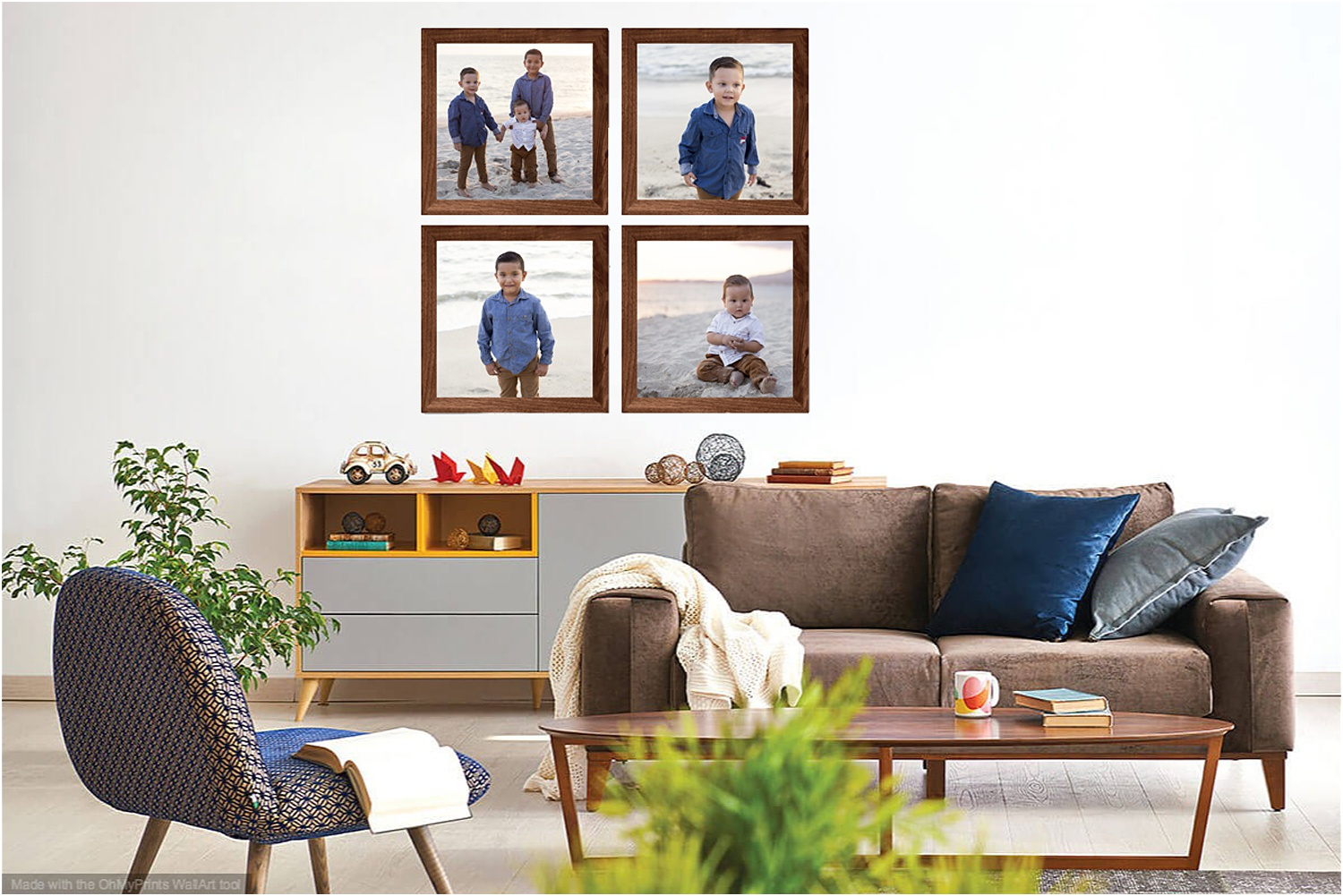 Square framed photos are perfect for symmetrical gallery walls.