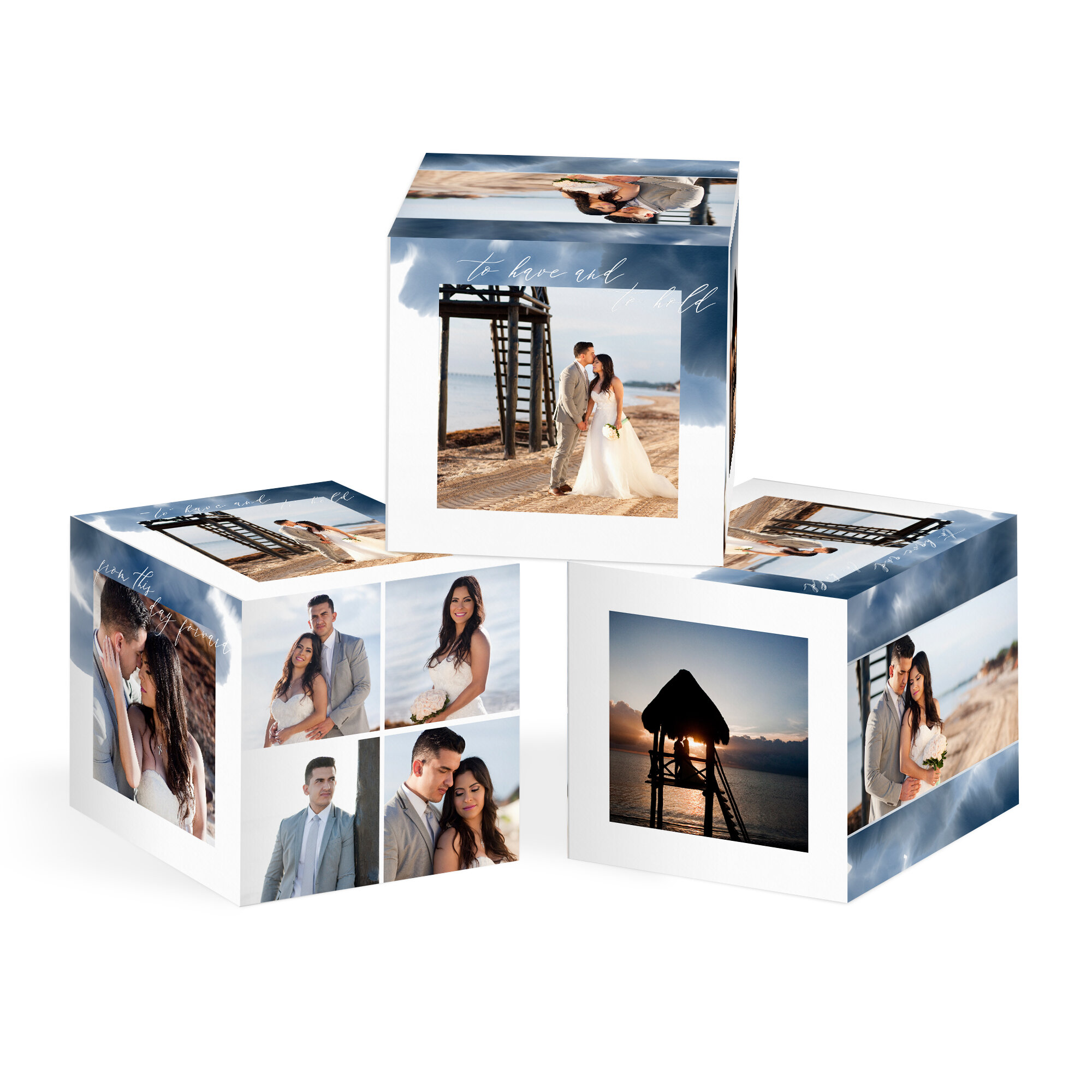 An Image Cube comes in 8x8 or 4x4 sizes and offers 6 unique sides to display your beautiful photos. Turn it each time you walk by to display your favorite. Give them as gifts to your parents. They make a great statement.