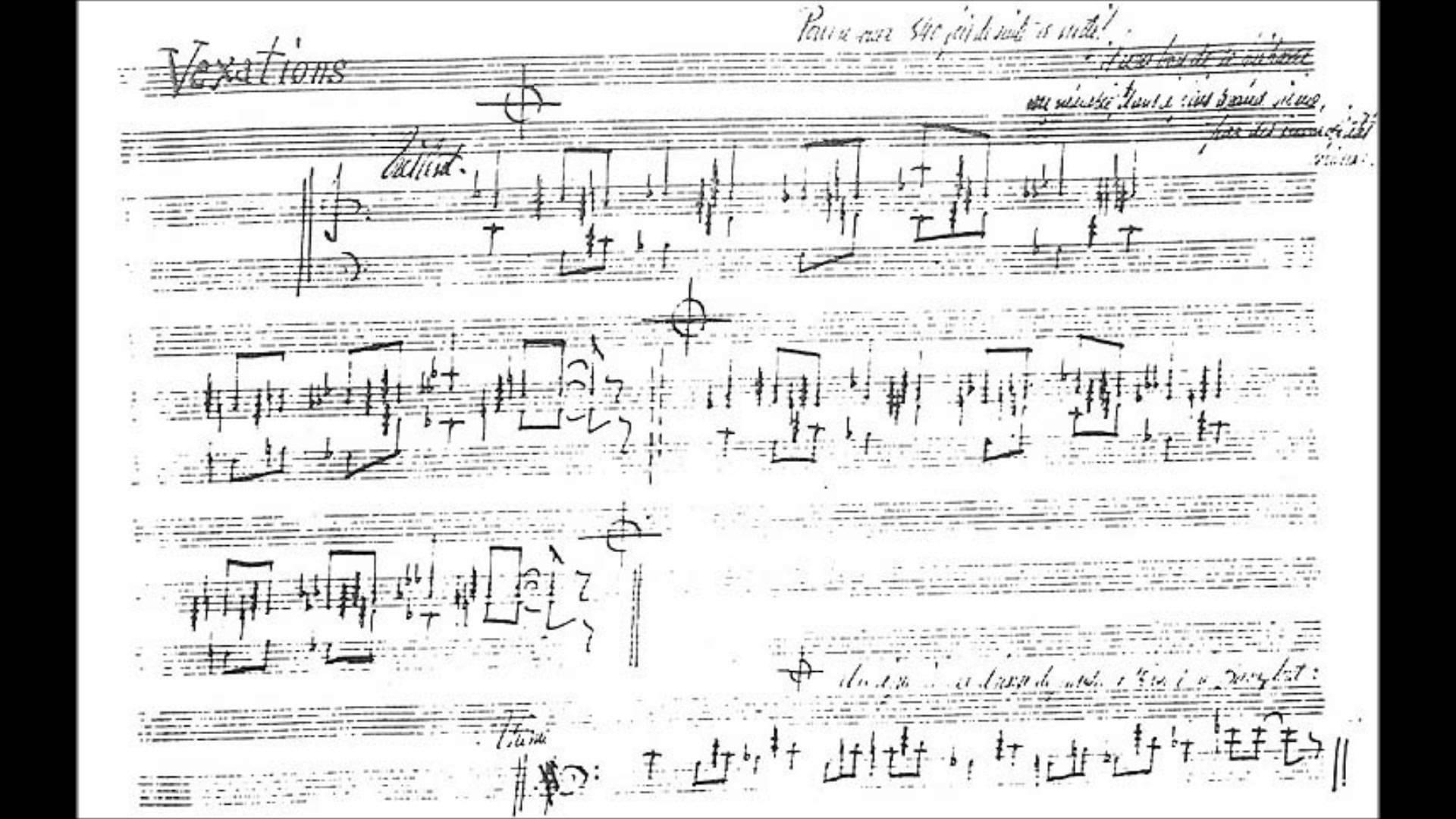 Saties' score for VEXATIONS (1893)