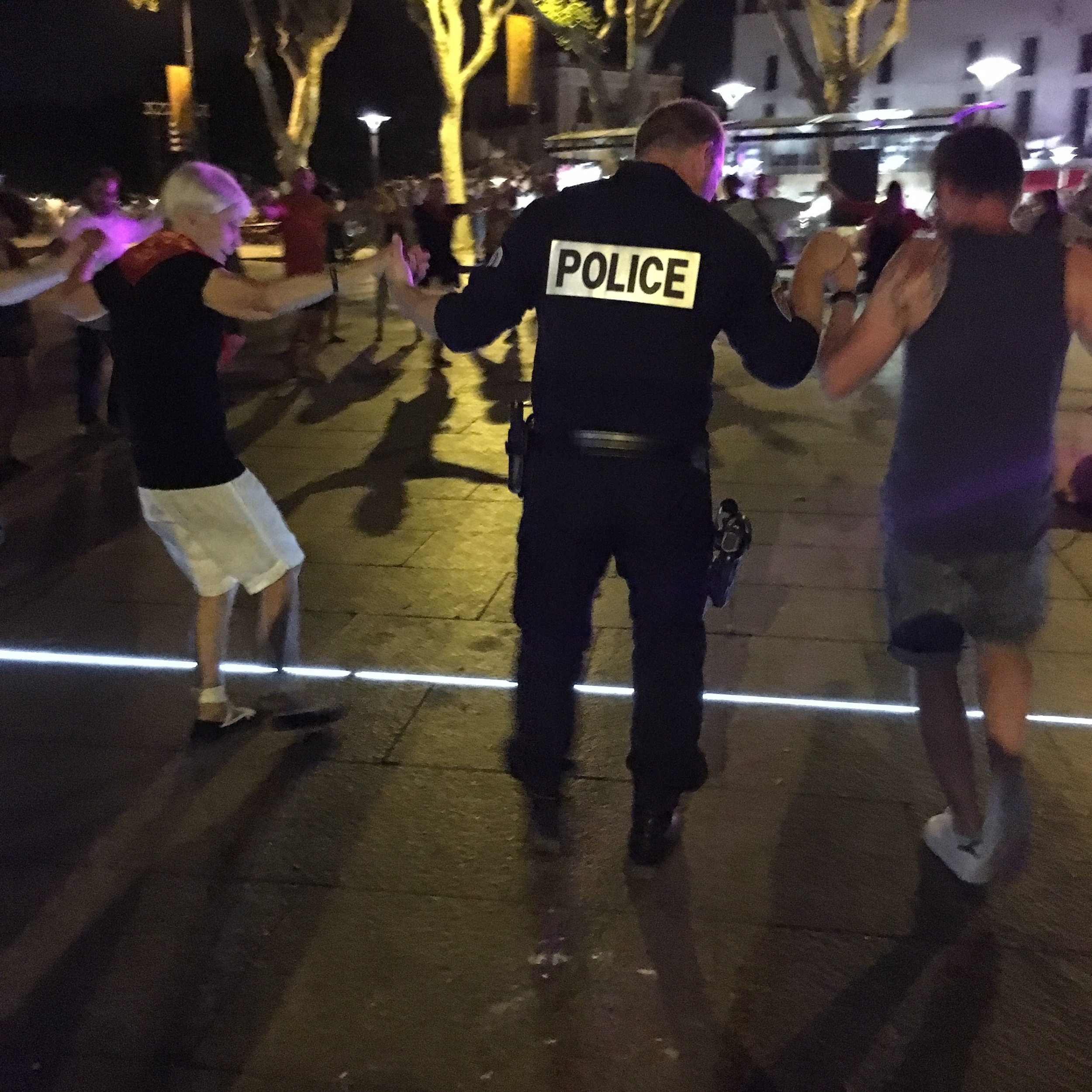 A dancing police officer in Perpignan, France.