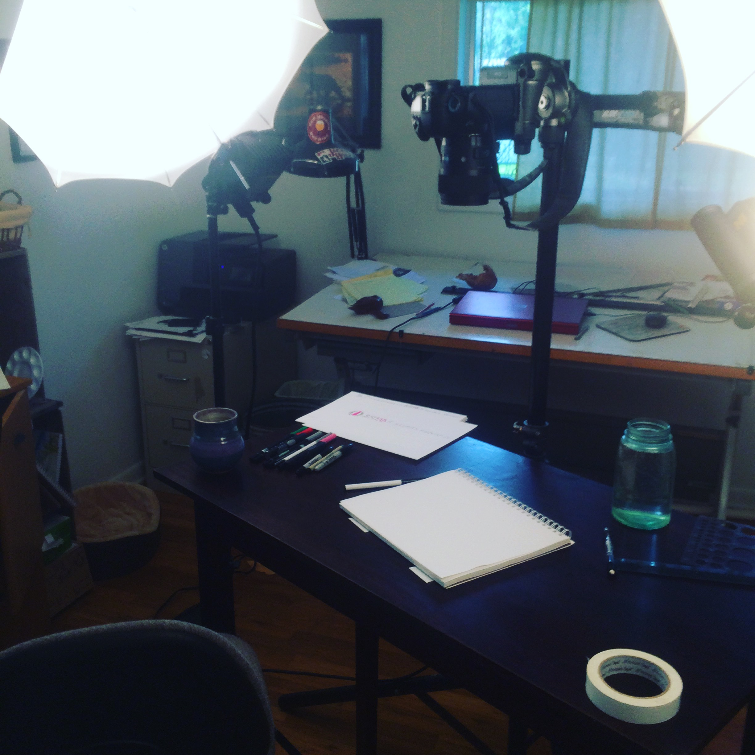 Last week I shared a finished explainer video on Dialogue and Deliberation, this week is a more behind-the-scenes perspective. Here's a shot of my video recording set up for the most recent video I recorded. I won't be able to share the video per my client's privacy, but I can show you that the magic is made right here!